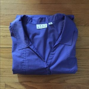 Joan Rivers Purple Tunic Button Down with Pockets
